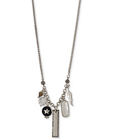 "Lucky Brand Silver-Tone Crystal & Stone Charm Necklace, 29-1/2"" + 2"" extender"