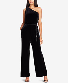 Tahari ASL One-Shoulder Belted Velvet Jumpsuit