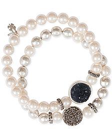 Lucky Brand Silver-Tone 2-Pc. Set Pavé, Druzy Stone & Imitation Pearl Stretch Bracelets