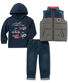 Kids Headquarters Little Boys Blast Off 3-Pc. Hoodie, Jeans & Vest Set