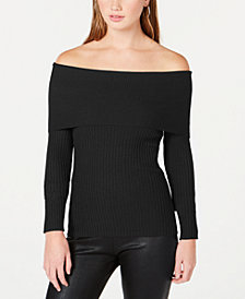 Hooked Up by IOT Juniors' Off-The-Shoulder Ribbed-Knit Sweater