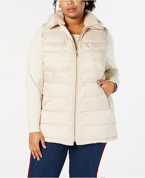 Charter Club Plus Size Faux Fur Quilted Vest, Created for Macy's