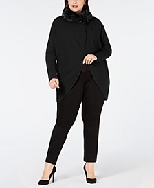 Plus Size Convertible Sweater With Faux-Fur Trim, Created for Macy's