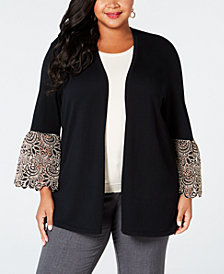 Alfani Plus Size Lace-Cuff Cardigan, Created for Macy's