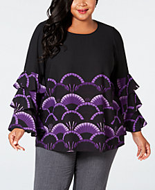 Alfani Plus Size Printed Tiered Sleeve Blouse, Created for Macy's