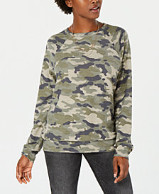Rebellious One Juniors' Camo-Printed French Terry Sweatshirt