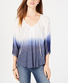 BCX Juniors' Dip-Dyed Tie-Neck Top
