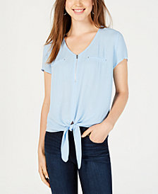 BCX Juniors' Zippered Tie-Hem Top