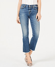 7 For All Mankind Cropped Fray-Hem Boot-Cut Jeans