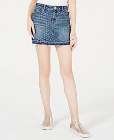 Kendall + Kylie Studded Cotton Denim Skirt