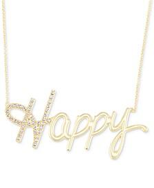 "Swarovski Crystal ""Happy"" Pendant Necklace in 18k Gold over Sterling Silver, 18"" + 4"" extender"