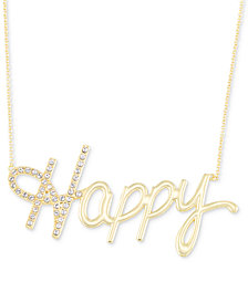 "Simone I. Smith Swarovski Crystal ""Happy"" Pendant Necklace in 18k Gold over Sterling Silver, 18"" + 4"" extender"