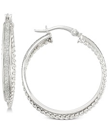 Simone I. Smith Glitter Twist Hoop Earrings in Sterling Silver