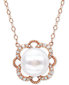 "Cultured Freshwater Pearl (8mm) & Diamond (1/10 ct. t.w.) 17"" Pendant Necklace in 10k Rose Gold"