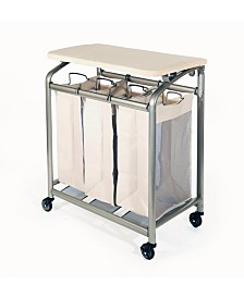 Seville Classics Mobile 3-Bag Heavy-Duty Laundry Hamper Sorter Cart With Folding Table