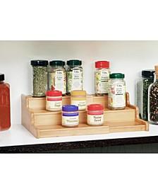 3 Tier Expandable Bamboo Spice Rack Step Shelf Cabinet Organizer