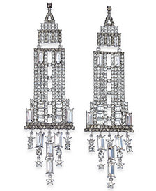 kate spade new york Silver-Tone Crystal Empire State Building Chandelier Earrings