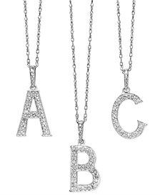 14k White Gold Diamond Accent Alphabet Pendants