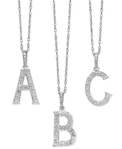 14k white gold diamond accent alphabet pendants necklaces 14k white gold diamond accent alphabet pendants aloadofball Image collections