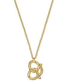 "kate spade new york Gold-Tone Pavé Pretzel Pendant Necklace, 15"" + 3"" extender"