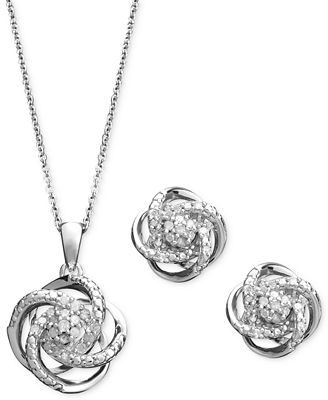 Diamond Jewelry Set Sterling Silver Diamond Knot Pendant and