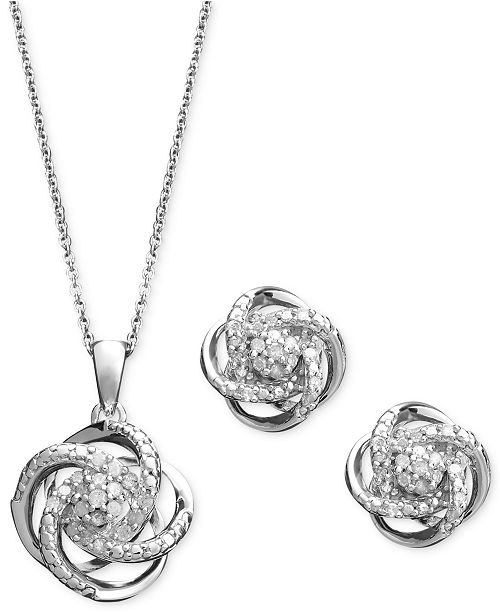 Macy's Diamond Jewelry Set, Sterling Silver Diamond Knot Pendant and Earrings Set (1/4 ct. t.w.)