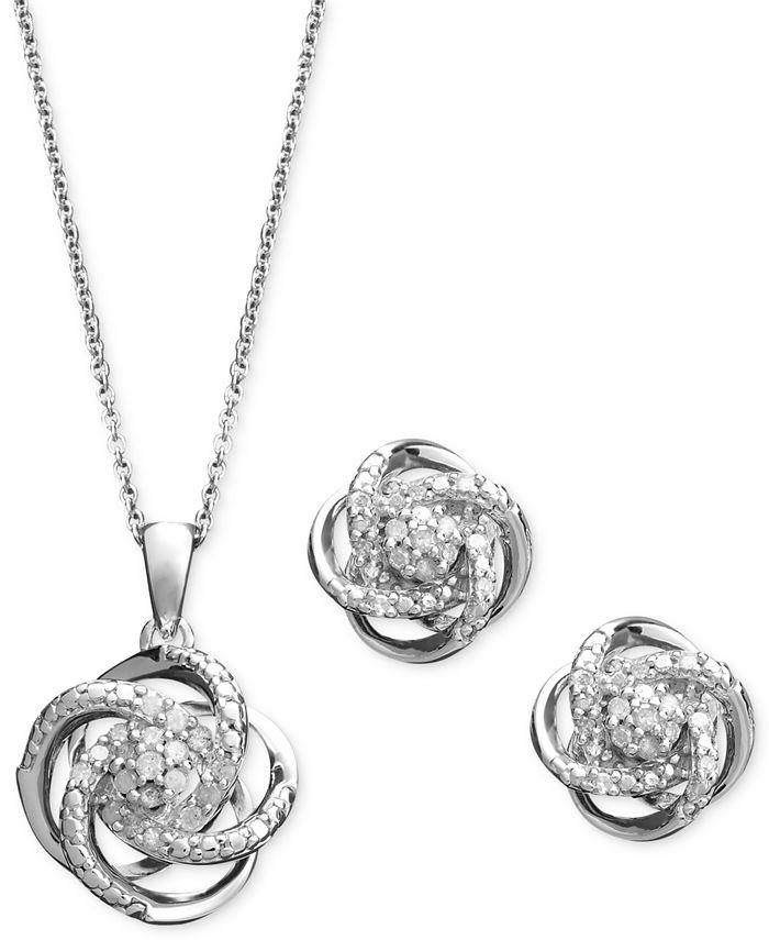 Macy's - Diamond Jewelry Set, Sterling Silver Diamond Knot Pendant and Earrings Set (1/4 ct. t.w.)