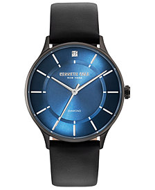 Kenneth Cole New York Men's Black Leather Strap Watch 40mm