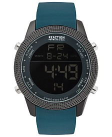 Kenneth Cole Reaction Men's Digital Dark Green Silicone Strap Watch 50mm