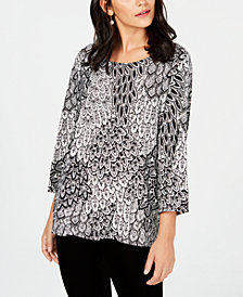 JM Collection 3/4-Sleeve Novelty Printed Jacquard Top, Created for Macy's