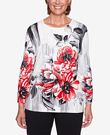 Alfred Dunner Sutton Place Floral-Print Studded Sweater