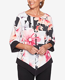 Alfred Dunner Finishing Touches Floral-Print Necklace Top