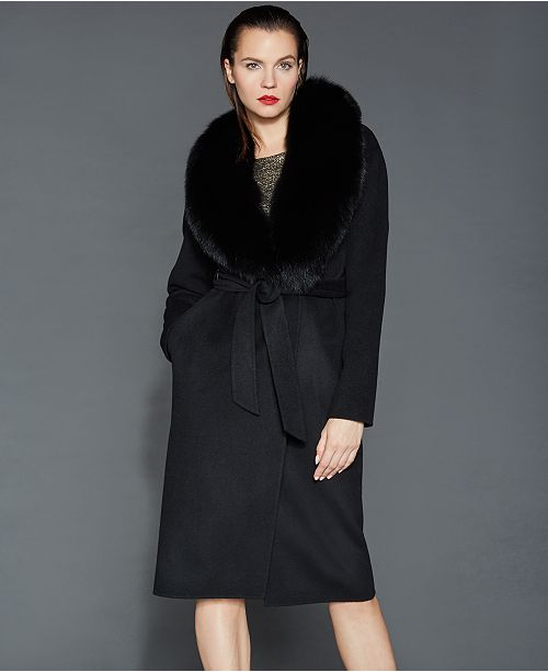 fashion style really cheap great deals 2017 The Fur Vault Fox-Fur-Collar Wool Coat & Reviews - The Fur Vault ...