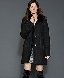 Fox-Trim Shearling Coat
