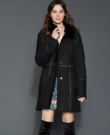 The Fur Vault Fox-Trim Shearling Coat