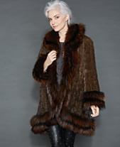 a816549f093 The Fur Vault Fox-Fur-Trim Knitted Mink Coat