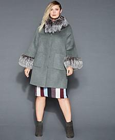 Plus Size Fox-Fur-Trim Wool Coat