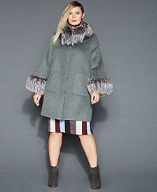 The Fur Vault Plus Size Fox-Fur-Trim Wool Coat