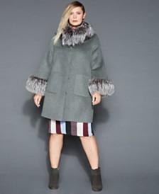 8c2067ceac4 The Fur Vault Plus Size Fox-Fur-Trim Wool Coat