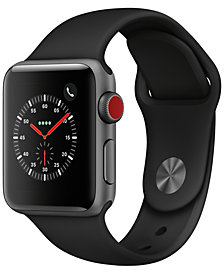 Apple Watch Series 3 GPS + Cellular, 38mm Space Gray Aluminum Case with Black Sport Band