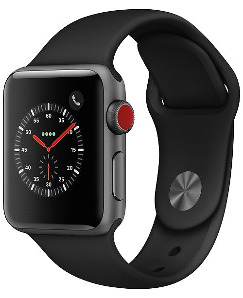 Apple Watch Series 3 AppleWatch Series3 GPS+Cellular, 38mm Space Gray Aluminum Case with Black Sport Band
