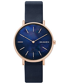 Skagen Women's Signatur Navy Leather Strap Watch 36mm