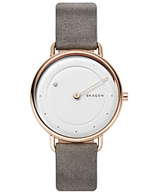 Skagen Women's Horisont Diamond-Accent Gray Leather Strap Watch 36mm