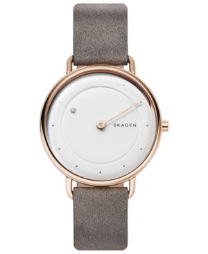 SKAGEN Women'S Horisont Diamond-Accent Gray Leather Strap Watch 36Mm in Silver