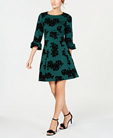 Jessica Howard Petite Flocked Fit & Flare Dress