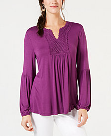 Style & Co Crochet-Trim Top, Created for Macy's