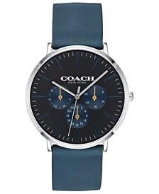 Men's Varick Blue Leather Strap 40mm