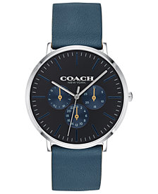 COACH Men's Varick Blue Leather Strap 40mm