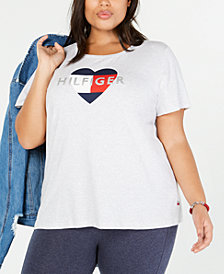 Tommy Hilfiger Plus Size Heart-Logo T-Shirt, Created for Macy's
