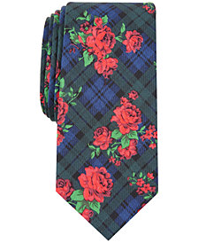 Bar III Men's Rose Tartan Skinny Tie, Created for Macy's